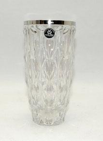 Glasvase, 800er Silbermontierung,Formgeblasen, geometrische Muster,16,0 cm, € 59,00