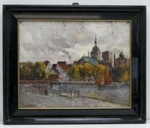 Franz Pflugradt, Stadansicht Stralsund, Nikolaikirche mit Kanal, Segelboot, € 2350,00