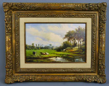 """Albert Jurardus Van Prooyen,1834-1898, """"Weidende Kühe"""", Goldrahmen, Öl auf Holz, € 1300,00"""