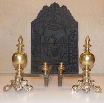 Antike Kaminböcke, Empire, Klassizismus, 19. Jahrhundert, Messing, Eisen ,€ 600,00