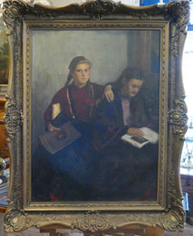 Nagy Gyula, Öl auf Leinwand, Zwei junge Frauen, Goldrahmen, € 850,00