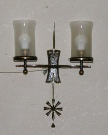 Wandlampe,geschmiedet, Eisen, 30er Jahre, Burg Lichtenfels, Milchglas-Schirme, € 165,00