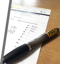 Ausgefülltes Bestell-Formular