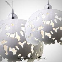 Lampade da sospensione tagli PIZZO finitura Maiolica bianca . Margherita Vellini Ceramica italiana fatta a mano Home Lighting Design