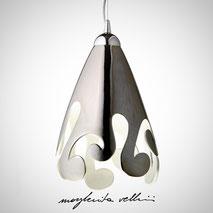 Lampada da sospensione tagli BAROCCO finitura in metallo prezioso Platino 15% . Margherita Vellini Ceramica Made in Italy Home Lighting Design