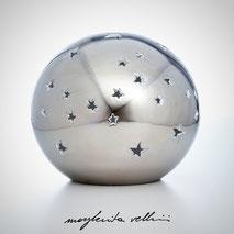 Lampada sfera da appoggio STELLATO metallo prezioso Platino 15%. Margherita Vellini Ceramica Made in Italy Home Lighting Design