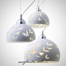 Lampada da sospensione tagli FARFALLE finitura Maiolica bianca . Margherita Vellini Ceramica Made in Italy Home light design