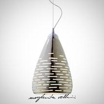 Lampada da sospensione tagli ORIZZONTALI finitura in metallo prezioso Platino 15% Margherita Vellini Ceramica Made in Italy Home Lighting Design