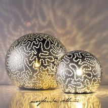 Lampade sfera da appoggio tagli ISOBARE finitura metallo prezioso Platino 15% Margherita Vellini Ceramica Made in Italy Home Lighting Design