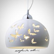 Hanging lamp FARFALLE shiny white glaze . Margherita Vellini Ceramics Made in Italy Home Lighting Design