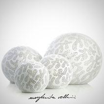 Lampade sfera da appoggio tagli GINGER smalto bianco opaco Margherita Vellini Ceramica Made in Italy Home Lighting Design
