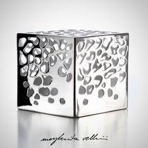 Cubo da appoggio tagli BLOB finitura in metallo prezioso Platino 15%  Margherita Vellini Ceramica Made in Italy Home Lighting Design