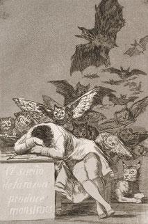 Goya, Le Sommeil de la Raison engendre les Monstres, 1799.