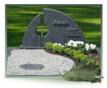 Pflanzfläche geteilt Kies Blumen Edelstahl Doppelgrab geteilt