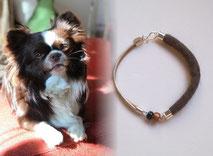 joya-artistica-con-pelo-animal-mi-miga-pulsera-cuero-plata-ley-elementos-cristal-perro-duque