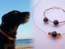 pet-loss-memorial-jewel-artisan-bracelet-necklace-personalized-cotton-steel-silver-glass-elements-animal-hair-dog-noche