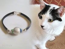 joya-artistica-con-pelo-animal-mi-miga-recuerdo-pulsera-cuero-plano-plata-ley-adornos-ceramica-perla-cristal-gato-nami