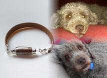 joya-artistica-con-pelo-animal-mi-miga-pulsera-recuerdo-cuero-plano-plata-ley-perla-cristal-perro-sandy