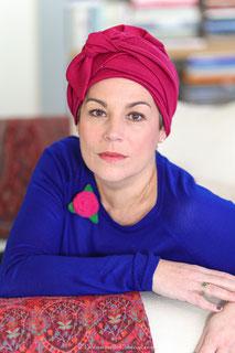 Turban cancer coton GOTS couleur framboise avec strass de swarovki