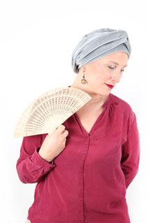 Bonnet et turban en velours écologique gris
