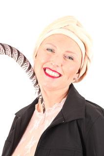 Turban et bandeau en velours de coton écologique ivoire