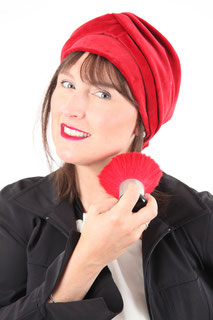 Turban en velours GOTS rouge