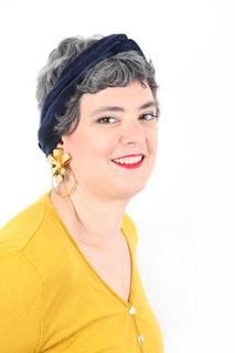 bandeau pour les cheveux en velours de coton bleu marine