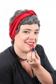 Bandeau pour les cheveux en velours de coton de couleurrouge