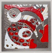 tableau abstrait rouge en lave émaillée