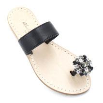 sandali a fascia neri con cristalli swarovski neri e bianchi