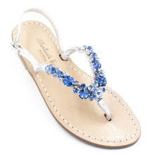 sandali gioiello  blu' e argento artigianali ischia