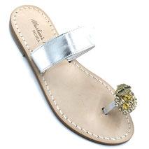 sandali argentati con cristalli swarovski
