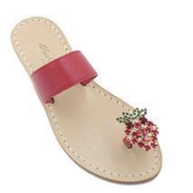 sandali con cristalli swarovski e fascia rossa