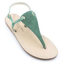 sandali artigianali in camoscio verde