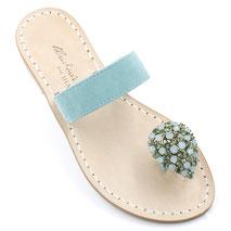 sandali a fascia con alluce e cristalli azzurri