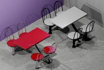 Bancas y mesas metálicas especialmente fabricadas y diseñadas para comida rápida; completamente resistentes a los elementos y a la intemperie. Garantizamos que nuestras bancas y mesas no se oxidarán ni picarán, aún bajo las condiciones más extremas (sol,
