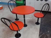 Sillas y mesas para el área de fast food en diferentes colores, modelos y materiales de construcción: plástico, madera, cubierta de vidrio (mesas) metal. Solicite nuestro catálogo.