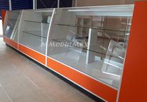 Vitrina de madera, vitrina panorámica, vitrina mostrador