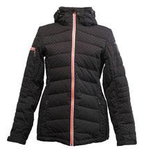 www.mueden.de, Müden Textilreinigung Saarbrücken, Winter und Ski, Bild schwarze Skijacke mit rotem Reissverschluss