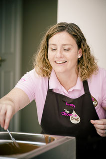 Kirsty Stickland, demonstrating a chocolate making event