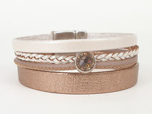 Lederarmband, Rosegold, Leder, Armband, Magnetverschluss