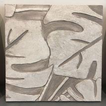 quadro materico in rilievo foglie