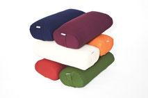 yogawood Oblang Yogabolster aus Kapok in den Farben Burgundy rot, Pflaume, Olive grün, Sand, Orange, Blau