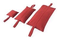 yogawood Sandsäcke mit Trageschlaufen in zwei Farben, aus festem Panamastoff, sauber gefertigt.