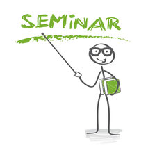Seminar Hinweis Zeichenmännchen mit Stab in grün und grau