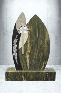 Grabstein Rose und Edelstahl Kreuz