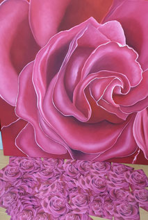 Oelbild-Rosa-Rose-Blumenbilder-Malerei-Privatraeume-Bueroraeume-Kosmetikindustrie-Werbebilder-mieten-kaufen-Kunst-Postkarten-Eltville-Rheingau-Kunsthandel-Moderne-Kunst-monochrom-Florale-Motive-Marion-Haas-Große-Rose-großformat-Sommerwind-farbenfroh-