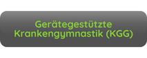 Button Aufschrift Gerätegestützte Krankengymastik KGG grau grüne Schrift