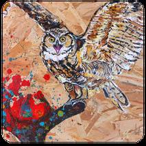 tableau peinture acrylique sur bois osb récup travaux animaux fauve réaliste