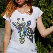 tee shirt col V coton animaux dessin femme impression numérique coloré original artisanal